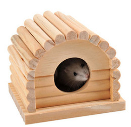 Gabbie di ratto online-Hamster Fission House Small Rat Rats House Nest Gabbia Cabin Hamster Woodiness Toys