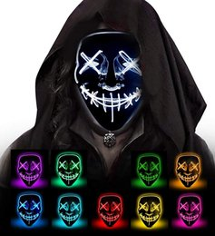 Accessorio horror online-Halloween Glow Mask Flash LED Horror Masquerade Mask Vendita calda Halloween Cosplay Fashion Festival Accessorio costume Emoji