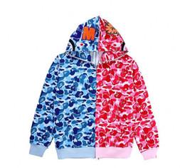 dc3ea8b2832b Autumn Winter New Hip Hop Streetwear Embroidery Shark Camo Spilce Cardigan  Cotton Hoodie High Quality Male Jacket Sweater bape shark for sale