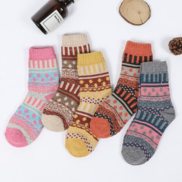 vintage cotton stockings Promo Codes - Free DHL Winter Women Socks 5 Pairs Vintage Style Cotton Wool Casual Socks Warm Colorful Stockings 4 Colors National Wind Stocking M760F