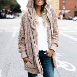 Primavera mujer abrigos de piel online-Año nuevo primavera otoño Faux Fur Teddy Bear Coat Jacket moda mujer de punto abierto con capucha capa femenina de manga larga Fuzzy Jacket 3XL