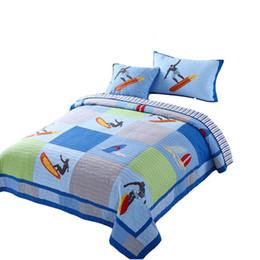 7d06703f4a Surf equitação meninos cama applique bordado colcha de retalhos 100% algodão  gêmeo   tamanho único colcha fronha frete grátis UM