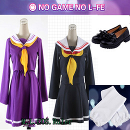 sailor uniform cosplay Promo Codes - cosplay shiro HOT Anime COS White Shiro No Game No Life Cosplay Sailor Suit Costume Student Uniform Free Shipping