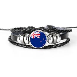 Nuovi gioielli della zelanda online-Moda in pelle di vacchetta corda braccialetti di perline donne uomini vetro Cabochon Nuova Zelanda bandiera nazionale Coppa del mondo di calcio fan gioielli coppie regalo