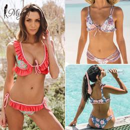 09b3dd1091 Discount lace blue bikini swim - MIYOUJ Ruffle Swimsuit Female Push Up Bikini  Set Lace-