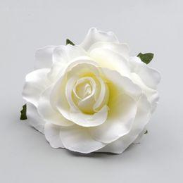 Corona de flores blancas online-30 unids grande artificial rosa blanca seda cabezas de flores para la decoración de la boda Diy Wreath caja de regalo Scrapbooking Craft flores falsas T8190626