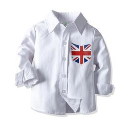 Estilos do jaque on-line-Crianças Meninos Camisa Sólida Union Jack Impresso Único Breasted Roupas de Algodão de Manga Longa Roupas de Algodão Branco Crianças 1-6 T