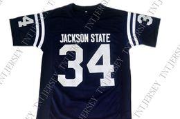 2019 walter blue vente en gros Walter Payton n ° 34 Jackson State New maillot de football bleu marine cousu Personnaliser un numéro de nom walter blue pas cher
