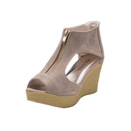 Semelles compensées peep toe en Ligne-chaussures femme sandales femme 2018 nouveau Femme Chaussures Eté Décontracté Peep Toe Plateforme Compensées Sandales Pantoufles Fashion O1010 # 30