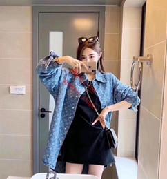 2019 Mujeres Casual Manga Larga Blusa Suelta Solapa Camisa de mezclilla abrigo Mujeres Turn-down Collar Regular Mujer Ropa L-i1 desde fabricantes