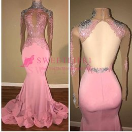 long silk empire prom dress Coupons - 2019 Black Girls Pink Long Sleeve Prom Dresses Illusion Sexy Backless Appliques Mermaid South Africa Style Formal Evening Dresses