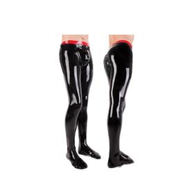 Deutschland Latex Herren Red Waist und Black High Waist Enge Hose mit Socken Strumpfhosen Stück Anzug Größe XXS-XXL cheap red latex suit men Versorgung