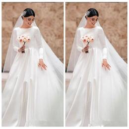 brautkleid zwei eins Rabatt Elegante Satin A-Linie Brautkleider 2019 Modest Maßgeschneiderte Langarm Brautkleider Formelle Robe De Mariee Largo Vintage Brautkleid