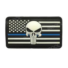 Patchs militaires en pvc en Ligne-Drapeau américain 3D W / Thin Blue Line tête de mort Skull PVC Rubber Military US Army insignes de moral tactiques Patchs brodés pour vêtements