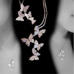 collana di zaffiro sterlina Sconti Gioielli di moda classica di nuovo arrivo 925 SilverRose oro Riempire Pave bianco zaffiro della CZ diamante farfalla pendente Donne