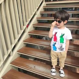 Camiseta de bolsillo para niños online-Nueva Moda de Dibujos Animados Niños Infant Kid Boys Cartoon conejos Imprimir Pocket T-shirt Tops Camisetas Tee dropshipping