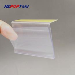 2019 impresión de tarjetas de saludos Tiras de datos de estante de PVC de plástico L6cm por cinta adhesiva Precio de la persona que habla Señal de exhibición Portatarjetas de la etiqueta en el estante del supermercado 50pcs