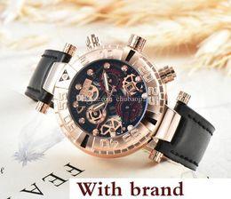 Billige lederband uhren online-Herren Sportuhren Günstige Rose Gold Zifferblatt Armbanduhren Luxus Leder Band Persönlichkeit Design Festival Mann Armbanduhren