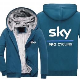 2019 giacche da ciclismo invernale inverno Felpe con cappuccio SKY PRO CYCLING Uomo donna Caldo autunno felpe vestiti Zipper giacca in pile con cappuccio giacche da ciclismo invernale economici