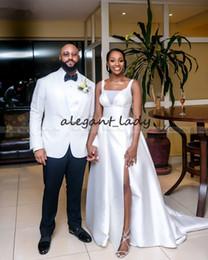 2020 nigeria weiße brautkleider Elegante weiße Satin afrikanische Brautkleider mit Überrock hoch aufgeteilte Illusion V-Ausschnitt Sexy Nigeria Plus Size Brautkleid 2019 günstig nigeria weiße brautkleider