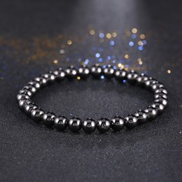 tendências da jóia de pedra Desconto Kang hua 2019 Tendência 6mm Hematita pedra Beads Pulseiras para menwomen charme clássico jóias Valentine presente Bijoux