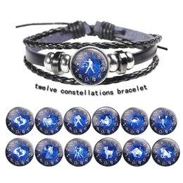 pulseira de couro de cera preta Desconto Doze constelações Homens Bracelet Genuine pulseira de couro preto do crânio Alloy Wax Rope Bangles Designer Jóias Mulheres Pulseiras casais dom
