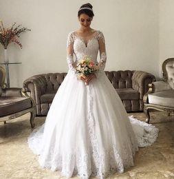 2019 турецкие длинные платья Принцесса арабский бальное платье Свадебные платья страна с длинными рукавами сад поезд аппликации кружева роскошные Дубай Турция свадебные платья vestidos Novias дешево турецкие длинные платья