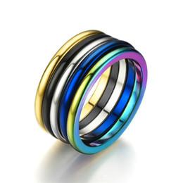 Anello in acciaio arcobaleno 2mm Anelli moda semplice per donna Lucido lucido Acciaio inossidabile blu oro nero argento da luci gp fornitori