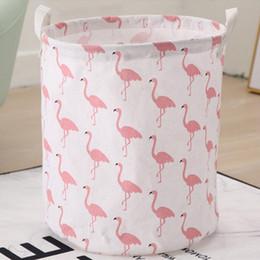 scatole di stoccaggio dei giocattoli Sconti Flamingo Bird Pieghevole cestino di immagazzinaggio Vestiti Box Sundries Toy Bucato portatile Hanging Secchio di lino Cartoon Home Storage Organizer