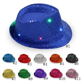 LED Jazz Hats Flashing Light Up Fedora Gorras Lentejuelas Cap Fancy Dress Dance Party Hat Unisex Hip-Hop Lamp Luminous Hat GGA2564 desde fabricantes
