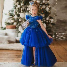 Royal Blue High Low Vestidos De Niña De Flores Para La Boda Una Línea Vestidos De Desfile Para Niños Pequeños Con Gradas Vestido De Comunión Para