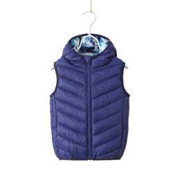 Viejo chaleco de bebé online-Encapuchado Niño Chaleco Niños Ropa de abrigo Abrigos de invierno Ropa para niños Cálidos bebés Niños Chaleco para niñas de 4 a 10 años de edad
