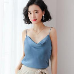 Femmes Tops Tees Soie Couleur Unie Camis 2019 Summer Wear Bottoming Shirt femme Débardeurs V Cou Nouvelle Mode S M L XL XXL Blanc Jaune ? partir de fabricateur