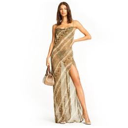 Vestidos de mujer 2019 Verano Nueva Moda Imprimir Maxi Vestido Sexy con cuello en V Sling Vestido de las mujeres Perspectiva de moda Falda de tul desde fabricantes