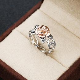 Fidanzamento di anelli di fiori rosa online-Vendita caldi Solid 14k gioielli Rosegold Fiore Argento 925 anello floreale Womens Two Tone romantico rosa di nozze anelli di fidanzamento