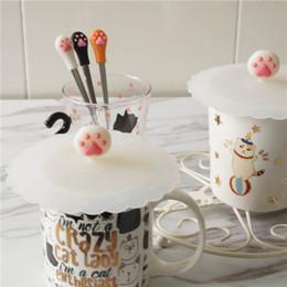 Commercio all'ingrosso creativo bella artiglio gatto design Food grade gel di silice tazza di copertura Mug coperchio coperchio # 426 da coperchio all'ingrosso della copertura della tazza del silicone fornitori