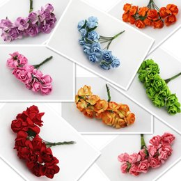Doce, flores, buquet on-line-Caixa de doces Mini Flor Artesanal Artesanal Rose Bouquet Scrapbooking Acessórios Guirlanda Caixa de Doces Decoração de Casamento Flor