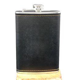 Canada Haute Qualité En Acier Inoxydable 9 Oz Hanche Flacon En Cuir Whisky Bouteille De Vin Rétro Gravure Alcool De Poche Flagon Avec Boîte Cadeaux cheap whisky mini bottle Offre