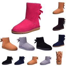 botas de neve roxas para mulheres Desconto ugg Original 2019 inverno wgg botas triplo preto cinza roxo rosa tênis de couro mulheres austrália clássico ajoelhar metade botas de neve longa
