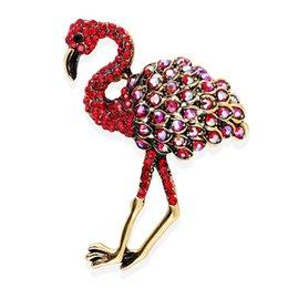 2020 pintura combinada Esmalte de pintura al óleo Combinar Flamenco rojo avestruz Broche suéter hebilla Insignia Accesorios pintura combinada baratos