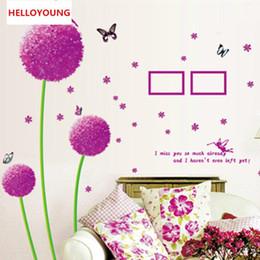 arte de parede roxa para quarto Desconto Parede diy adesivo roxo dandelion wallpapers quarto mural art adesivos de parede à prova d 'água decoração da sua casa