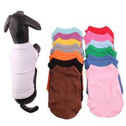 animali domestici cane estate Sconti Pet Apparel Multi Colors 4 Size Pet Summer Solid Magliette Vestiti per cani Cucciolo classico Vestiti per cani piccoli Camicie di cotone Vestiti DH0284 T03