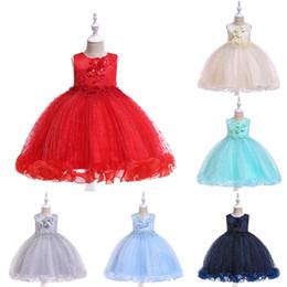 2019 vestido de cumpleaños de diseñador para niñas Baby Girls Princess Dress Girl Birthday Party Applique Vestidos Vestido de encaje a rayas Ropa de diseñador para niños de alta calidad Wedding Flower Dress 06 rebajas vestido de cumpleaños de diseñador para niñas