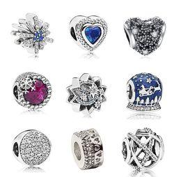 169ae9fe6 New 20pcs Snowflakes Heart Stars Blue Starry Carriage Silver Charms Bead  Pendant Beads Fit European Charm Pandora Bracelet Jewelry DIY Xmas