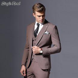 dessins de smoking Promotion Costume classique 2019 Groom Suit de grandes robes simples dernier manteau pantalon Designs Slim Fit Tuxedo mariage homme costumes SR18