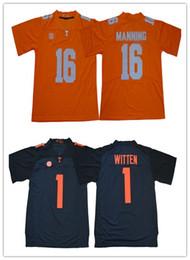 jersey estilo cor amarelo Desconto Mens NCAA Tennessee Voluntários 16 Peyton Manning 1 Jason Witten Colégio Réplica Camisas de Futebol Szies S para 3XL