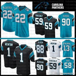 Maglia newton online-Migliore qualità 22 Christian McCaffrey Carolina Jersey Panthers 1 Cam Newton 59 Luke Kuechly 90 Julius Peppers 88 Grigio Olsen Football Jerseys