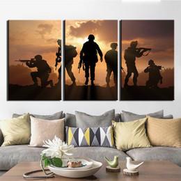 peintures militaires Promotion HD Imprimer 3 Piece Canvas Art patriotique militaire américaine affiche les peintures sur toile Wall Art pour la maison Décoration murale Cadre Décor