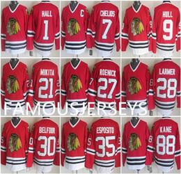 "Чикаго блэкхокс возврат джерси онлайн-""Чикаго Блэкхокс"", красная футболка ""Стэнли"", хоккейная майка №1, ""Гленн Холл"", 9 ""Бобби Халл"", 27 Джереми Реник, 28 Стив Лармер, 30 ""Эд Белфур Кейн"""