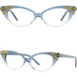 Cristal azul on-line-Acetato Full-Rim Frame com Dobradiças de Primavera das Mulheres olho de gato Óculos de Cristal Azul